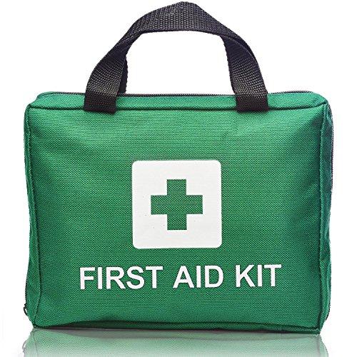 93 Piece Professional First Aid Kit Bag - Includes 3 x Eyewash, 2 x Cold (Ice) Packs, Emergency Blanket, Metal Scissors, Metal Tweezers for Home, School, Office, Car, Caravan, Workplace, Travel