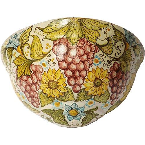 Ghenos - Gerla piatta Frutta e Fiori in maiolica dipinta a mano - Girasoli e Melograni