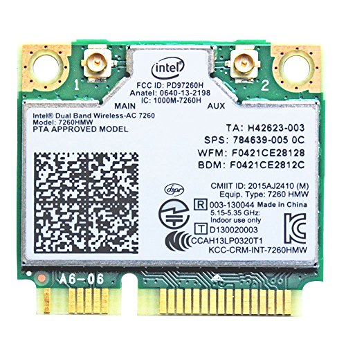 I10Gb Intel Dual Band Wireless-AC 7260 2x2 AC + Bluetooth