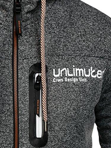 BOLF – Felpa – Cappuccio – Pullover – Sweatshirt – Hoodie – Motivo – Uomo – 1A1 Antracite-Marrone