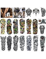 MelodySusie 18*Tatouage temporaire pour homme femmes, Tatouage de bras complet, Tatouage de couleur, Tatouage Tattoo noir body tattoo Sticker bras Tatouages,pour Boules masquées, festivals, spectacles, art de rue.
