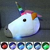 Bonamana Weiß Stuffed Unicorn Plüsch Kissen Spielzeug LED Leuchten Home