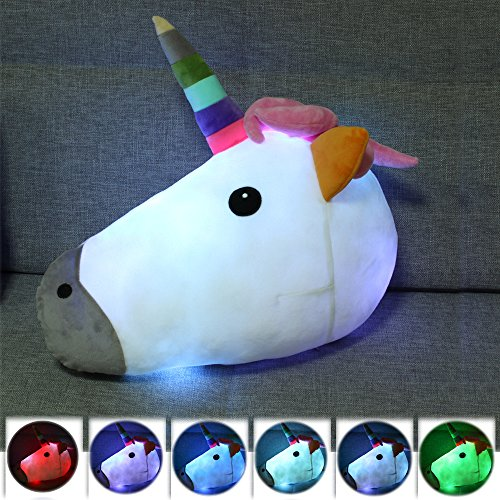 ed Unicorn Plüsch Kissen Spielzeug LED Leuchten Home Party Supplies Weiches Kissen Dekoration, 15 zoll (Led Party Supplies)