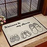 Alicemall Felpudos Alfombras Lavables Antideslizant y Antimancha Alfombras para Sala Salon Cocina Alfombrilla Baño 40*60cm Estampado Zapatod Bienvenidos a Casa