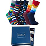 Vkele 6 Paar einfarbige Socken Geschenkpack oder Bulk, kariert, bunt, punkte, gestreift, Business Herrensocken, Crew Socken,