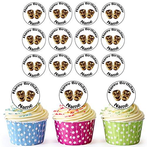 Komödie Und Tragödie Masken 24 Personalisierte Vorgeschnittene Kreise - Essbare Cupcake Aufleger / Geburtstagskuchen Dekorationen