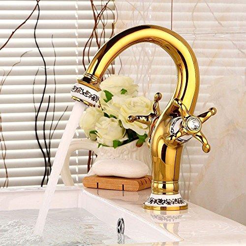 BadezimmerKüchenarmatur Vintage Messing vergoldet Kristall Doppelgriff ein Loch Keramik Ventil Keramik Ausgang heißes und kaltes Wasser Badezimmer Waschbecken Wasserhahn NGRJG Sanitärinstallationen. - Wasser-bad-kristalle
