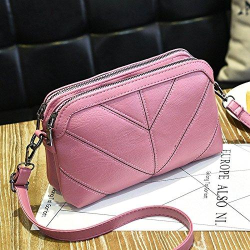 Sprnb Tutti-Match Borse Moda Ricamato Femmina Di Linea Sacchetta Casual Bag,Grigio Scuro Pink