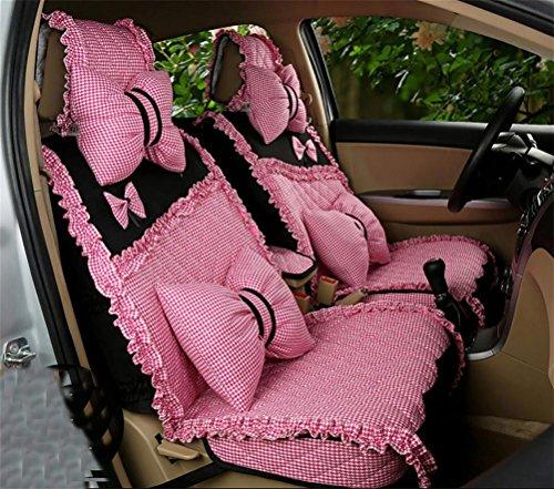 DIELIAN Auto Sitzbezug, Komplettset, universal passend, Sitzschutz, Art und Weisereizende Spitze-Gewebe, Super Design, pink (Sitzbezüge Für Lkw Schaffell)