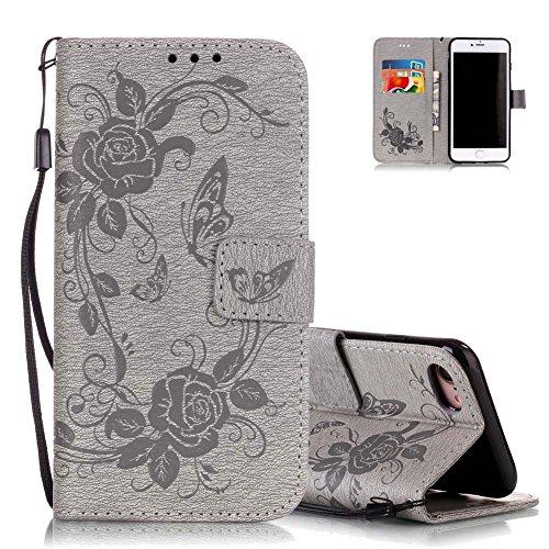 d236582185bb67 Coque iPhone 7Plus Gris, Pochette Coque iPhone 8 Plus, Aeeque® Luxe  Papillion et Fleur Motif Absorption des Chocs Housse en Cuir Résistant  Porte Cartes avec ...