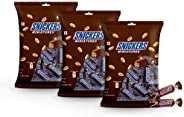Snickers Miniature Chocolate , Peanut Filled Birthday Gift Pack, 150g (Pack of 3)