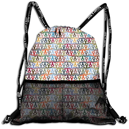 Little Giant Tank (RAINNY Drawstring Backpacks Bags,Colorful Stylized Pattern with Marine Icon Symmetrical Abstract Geometric Design,5 Liter Capacity,Adjustable)