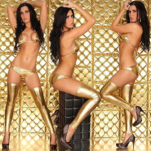 GGG Reizvoll Lackleder Bronziert Bikini Wäsche Strumpf Golden