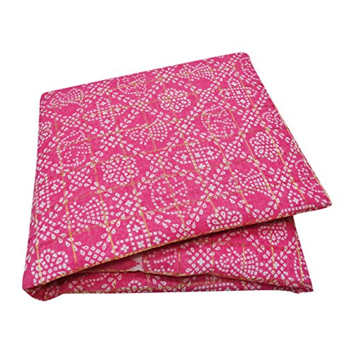 PEEGLI Frauen Jahrgang Gedruckt Sari Rosa Baumwollmischung DIY Vorhang Drapieren Stoff Indische Bandhani Saree (Vorhang Drapieren Sari)