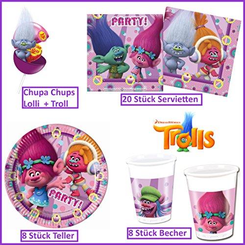 Preisvergleich Produktbild Trolls von DreamWorks 37-teilig Servietten Teller Becher Chupa Chups Lolli & Troll Kinder Geburtstag Partygeschirr 8 Kinder