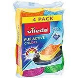 Vileda Pur Active Colors Eponges récureurs synthétiques, Face Abrasive brevetée, 4 pièces