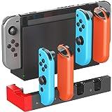 ElecGear Laddningsdocka för Nintendo Switch Joy-Con Controller, Quad USB Laddningsstativ Dockningsstation med LED Indikatorer