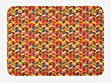 BUZRL Nature Bath Mat, Chevron Pattern with Colorful Vivid Fallen Tree Leaves Autumn Season Theme Pattern, Plush Bathroom Decor Mat with Non Slip Backing, 23.6 W X 15.7 W Inches, Multicolor