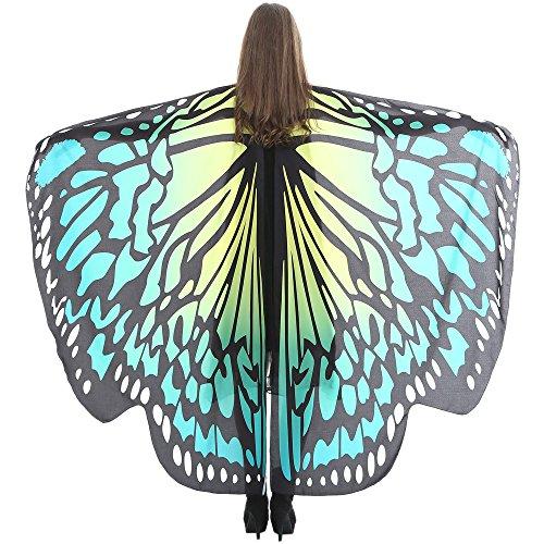 VEMOW Heißer Verkauf Damen Cosplay Party 168 * 135 CM Schmetterlingsflügel Schal Schals Damen Nymphe Pixie Poncho karneval Kostüm Zubehör(X2-Grün, 168 * 135CM)