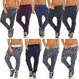malito Damen Jogginghose mit Knopfleiste | Sporthose mit Punkten | Baggy zum Tanzen | Sweatpants - Trainingshose 8520