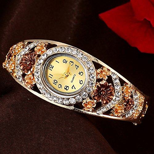 Fashion Strass Armreif Quarz Armbanduhr Armbanduhr, goldfarben, Einheitsgröße (Erstellen Sie Ihr Eigenes Kostüm)