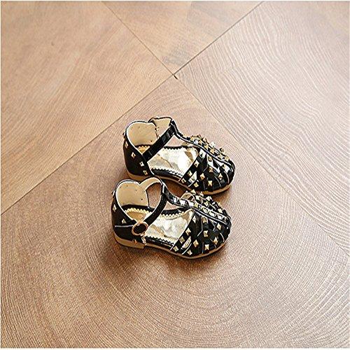ZGSX Moda principessa delle ragazze dei pattini nuove calzature per bambini sandali Velcro sandali di estate Nero