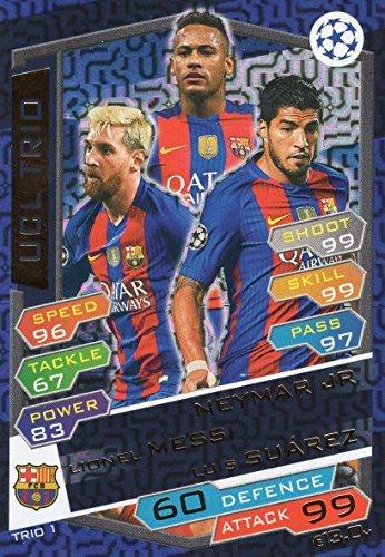 Preisvergleich Produktbild 2016/17 MATCH ATTAX CHAMPIONS LEAGUE UCL TRIO KARTE FC.BARCELONA MESSI, NEYMAR, SUAREZ