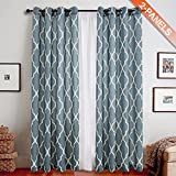 TOPICK Quatrefoil Linen Curtains - Lattice Moroccan Tile Printed Eyelet Curtains Panels/Drapes for Bedroom/Living Room Window/Patio Door - 95 inch Long - (Blue, Set of 2 Panels)