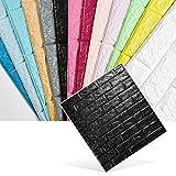 KINLO 5 Stück Wandpaneele 3D Ziegelstein Tapete Selbstklebend Brick Muster Tapete Fototapete DIY Wandaufkleber für Schlafzimmer Wohnzimmer moderne TV dekor (70cm*77cm*0.9cm) Schwarz