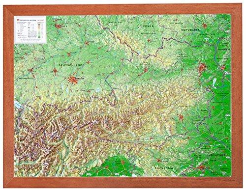 Österreich 1:1.6MIO mit Rahmen: Reliefkarte Österreich klein mit Holzrahmen