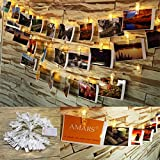 20 LEDs Photo Clip LED String Lights Battery Powered Bedroom Party Decoration String Lights Indoor Outdoor for Artwork, Wedding, DIY, Club (Warm White, 9.5 Feet)