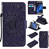 Galaxy S7 Case, KKEIKO� Galaxy S7 Flip Leather Case [with Free Tempered Glass Screen Protector], Shockproof Bumper Cover and Premium Wallet Case for Samsung Galaxy S7 (Purple)