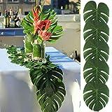 MEIDI Home Grandes Hojas de Palma Tropical Artificial, 13.8 por 11.4 Pulgadas, Hawaiian Luau Party Jungle Beach Decoraciones temáticas para decoración de Mesa Accesorios 48pcs