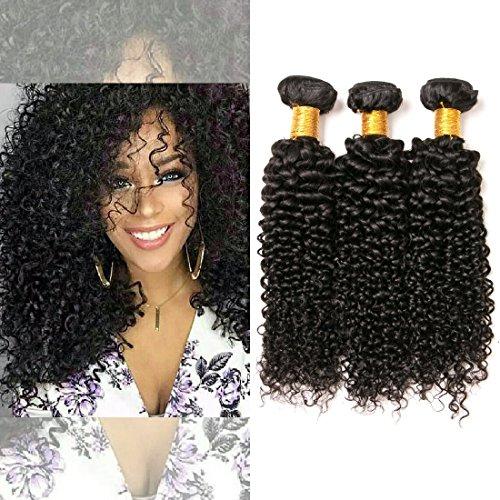 Jerry Kinky Curly Human Hair Brazilian 3 haar bündel echthaar tressen Extensions 100% Weave300g (16 18 20 inches) - Extensions Nähen Echthaar 100