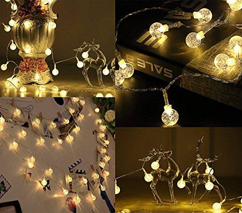 Outdoor Bubble Globe Lichterketten, Weihnachtsbeleuchtung, 40 LED, 1 Zoll Ball, USB Powered, warmes Weiß (3000k) für Dorm Schlafzimmer Patio Weihnachtsbaum Hochzeit Dekoration (Outdoor-lichterkette Globe)