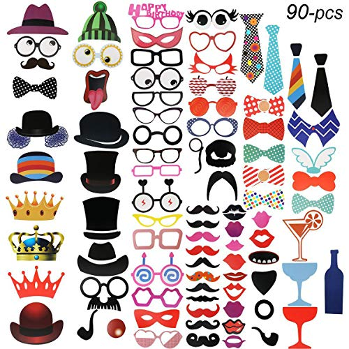 (Scheppend Boxen mit 90 Stück Foto-Requisiten für Hochzeit Geburtstag Partyzubehör Schnurrbart Gläser Maske Posing Requisiten Party Dekorationen …)