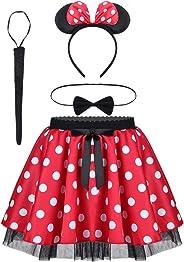 YiZYiF Baby Kinder Mädchen Kleid Halloween Karneval Kostüm Partykleid Polka Dots Cosplay Faschingskostüm mit Harreif Ohren Gr