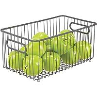 mDesign panier de rangement extra-large en fil de fer – boîte en métal flexible pour la cuisine, le garde-manger, etc…