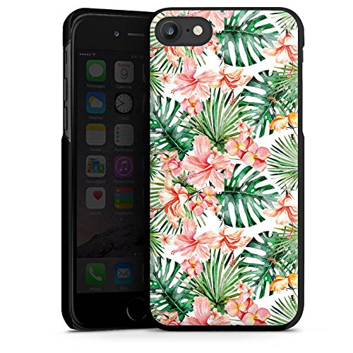 Apple iPhone X Silikon Hülle Case Schutzhülle Palmenblätter Muster Blüten Hard Case schwarz
