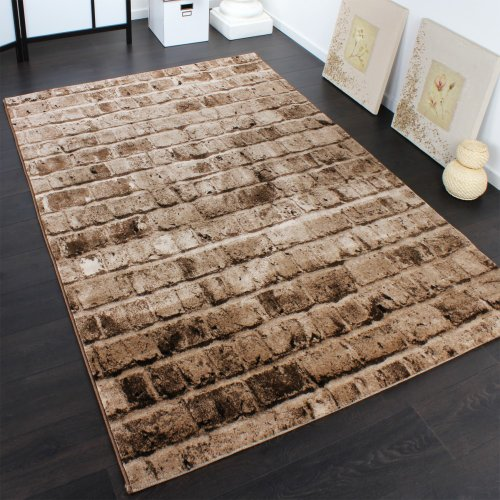 Elegant Designer Carpet With Stone Wall Pattern In A Mixture Of Brown and Beige, Size:200x290 cm