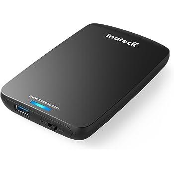Inateck Case Esterno Ottimizzato per Disco Rigido 2.5, Hard Disk e SSD SATA da 2.5 Pollici (9,5 mm e 7 mm), Nero-Bianco