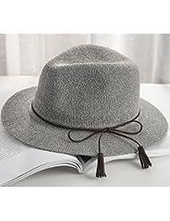 OME&QIUMEI Hat, Verano Sombrero Para El Sol, Sombrero Para El Sol,[Borlas] Gris