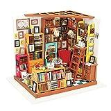 ROBOTIME Bibliothek Holz Puppenhaus Bausatz zum Selbermachen - Bücher Haus Holzbausatz Handgefertigt Bücherei Puppen-Haus Spielzeug - Miniatur Möbel Zubehör - für Mädchen & Jungen mit LED Licht Kreatives Geschenk