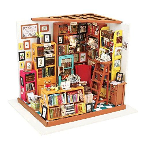 ROBOTIME Bibliothek Holz Puppenhaus Bausatz zum Selbermachen - Bücher Haus Holzbausatz Handgefertigt Bücherei Puppen-Haus Spielzeug - Miniatur Möbel Zubehör