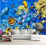 Rureng Custom Mural Large Wallpaper Hao Underwater World 3D Stereo Picture Tv Sofa Background Wall Painting Mural -250X175Cm