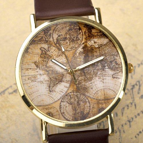 Better Dealz VINTAGE Weltkarte Uhr Lederausstattung Leichtmetall Damen Analoge Quarz Armbanduhr,retro kaffee - 2