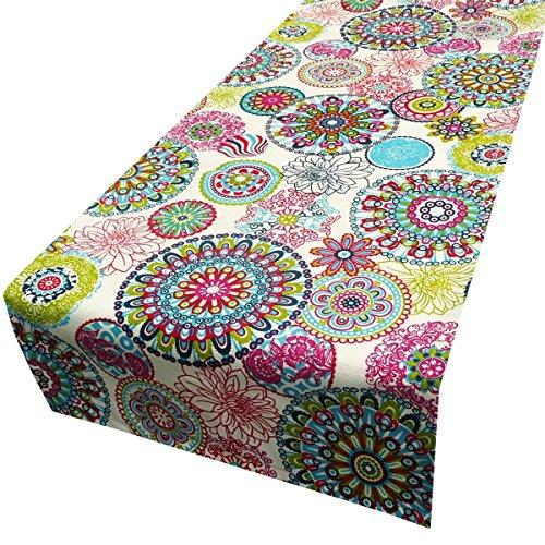 Schöner Leben Tischläufer Blumen Mandala bunt 40x160cm (Blumen Tischläufer)