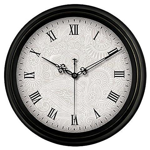 Black Metal Horloge murale ronde, 16