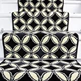 Lima Black White Carpet Tile Design Stair Carpet in 2' - 3' Widths and 1' - 64' Lengths - The Rug House - amazon.co.uk