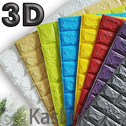 5 Stüc 3D Ziegel Tapete, Wandaufkleber Stereo Wandtattoo Papier Abnehmbare selbstklebend Tapete für Schlafzimmer Wohnzimmer moderne Hintergrund TV-Decor 60x60cm (dunkel grau 5 Stück)